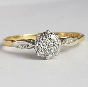 Vintage 18ct Gold & Palladium Diamond Cluster Ring.