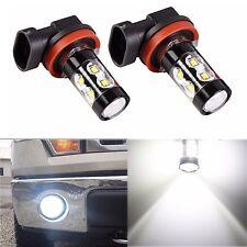 2x H16 High Power 50W 2400LM 90° Angle 6000K White Fog Light LED Bulbs