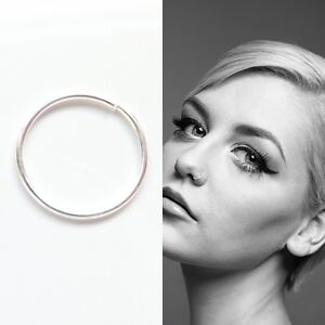 Sterling Silver Seamless Nose Ring Hoop Cartilage Tragus Piercing 8mm & 10mm