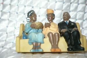 African American Family on Church Pew Resin Figurine