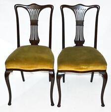 COPPIA di antichi Queen Anne Style sedie da sala da pranzo in mogano-SPEDIZIONE GRATUITA [PL1992]