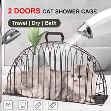 Pet Cat Cage Shower Metal Hair Dryer Easy Door Bath Lightweight Anti-grab Supply