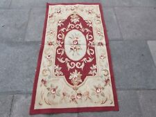 Old hand made design francese Lana Maroon Rosso ORIGINALE Aubusson 145X81cm