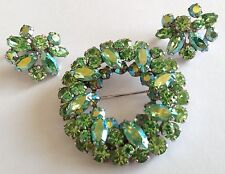 VINTAGE SHERMAN SIGNED MOLDED LIME GREEN RHINESTONE BROOCH & EARRINGS