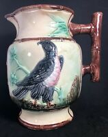 "Antique Majolica Bird of Prey Pitcher Jug w Twig Handle 9 1/2"" Tall. (12)"