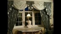 SILVER/Damask Designer Curtains Swags & Tails Lined 7-8ft Window
