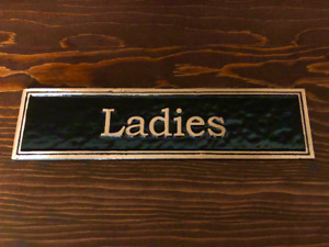 Ladies: Door or Wall Sign, Contemporary Pure Brass Sign