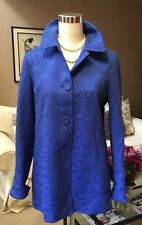 Peck & Peck Coat Jacket Cornflower Blue Floral Textured Lined Size M NWOT