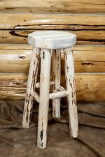 Rustic LOG Bar Stool Backless 24 Inch Amish Made Barstools Cabin Furniture