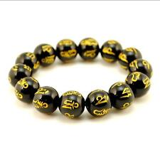 BLACK AGATE MALA 14mm Stone Prayer Bead Stretch Bracelet Sanskrit Om Mani Padme
