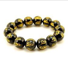 BLACK AGATE MALA 14mm Stone Prayer Bead Stretch Bracelet Sanskrit Om Mani Padme