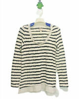 Anthropologie Postmark Womens Size Small White Black Striped Textured Sweater