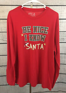 """Jammies For Your Families """"Be Nice I Know Santa"""" Pajama Top Men's Size Medium"""