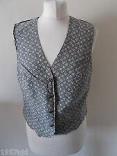 Women's  Grey Beige Flower Pattern V Neck Waistcoat Vest by Debenhams Size 10