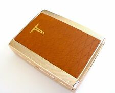1960s TOSHIBA Leather/Metal Engine Turned Cigarette Card Case Box JAPAN Numbered