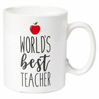 Ceramic Coffee Mug, World's Best Teacher with Red Apple, 16-Ounce Tea Cup