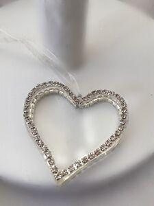 Gisela Graham Clear Glass Heart w Diamante Edge Decoration Christmas Sparkle 6cm