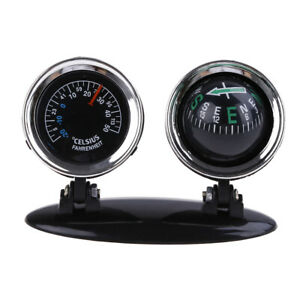2 in 1 Guide Ball Car Compass Thermometer Car Ornaments Direction Dashboard*B WF