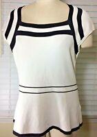 White House Black Market Signature Knit White & Black Sleeveless Top blouse Larg