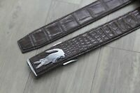 High Quality Brown Genuine Crocodile Alligator Leather Skin Men's Belt
