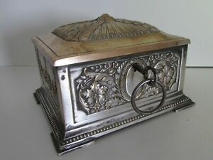 ANTIQUE VICTORIAN FRENCH BRONZE SILVERPLATE LOCK BOX JEWELRY CASKET
