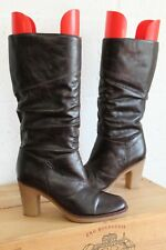 BROWN LEATHER MID HEEL RIDING STYLE BOOTS SIZE 6 / 39 BY NEW LOOK GOOD WORN CON