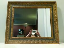 Vintage Wall Mirror Ornate Wood Green & Gold Frame Spanish Gothic Style