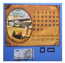 "Targa vintage ""Calendario perpetuo magnetico Air Travel Fastest Service"""