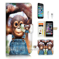 ( For iPhone 7 Plus ) Wallet Case Cover P3908 Baby Monkey Gorilla