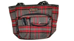 Rosetti Red Gray Black Plaid Magnetic Closure Multi-Pocketed Hand Bag Purse