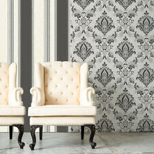 SENATOR GREY WHITE BLACK GLITTER DAMASK QUALITY FEATURE VINYL WALLPAPER M1029