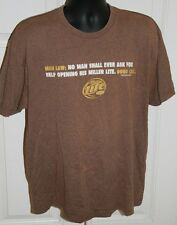 MILLER LITE Beer T-Shirt Sz XL Man Law: No Man Shall Ever Ask for Help Brown Bar