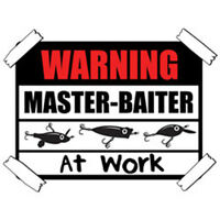 Warning Master Baiter At Work Lures Funny Cool Fishing T-Shirt Tee