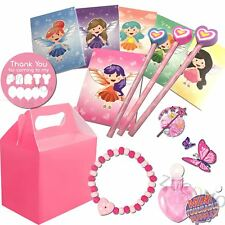 Girls Pink Birthday Wedding Activity Pack Filled Fairy Party Bags Favor Boxes