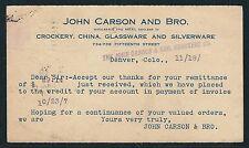 1907 #UX18 Advertising Postal Card – John Carson and Bro., Denver, CO