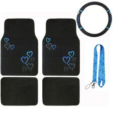 New Blue Hearts Heart Car Truck Front Rear Floor Mats & Steering Wheel Cover Set
