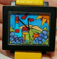 Sonya Paz Glass of Wine Grapes Sun Collectible Art Watch Winery Yellow Leather