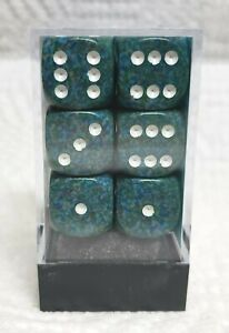 Dice - Chessex 16mm Speckled Sea w/White Pips - Box of 12 - Waves of Wins, Maybe