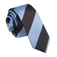 DQT Men's Skinny Tie Woven Striped Baby Blue & Black Formal Wedding Necktie