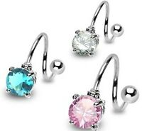 Surgical Stainless Steel Twister Belly Bar / Navel Ring With Prong Set CZ