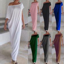 Women Oversize Summer Off Shoulder Boho Beach Short Sleeve Long Maxi Party Dress