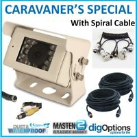 -Caravan CMOS Reverse Camera Kit HD Safety Visibility Spiral Hitch Cable Duty IR