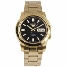 Seiko 5 Classic Mens Size Black Dial Gold Plated Stainless Steel Strap Watch