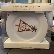 Pier 1 Imports Christmas Tree Set of 4 Holiday Dessert Plates Gold Rim NIB NEW