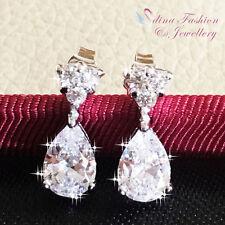 18K White Gold Filled AAA Grade CZ Delicate Little Clear Teardrop Stud Earrings