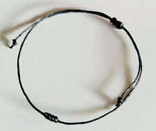 Authentic Thai Blessed Buddhist Wristband Fair Trade Wristwear Wax Cotton Black