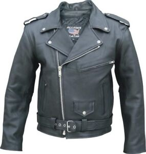 U SAVE $$$$ SALE MENS BLACK SOLID COWHIDE LEATHER CYCLE JACKETS 6 POCKETS Z. OUT