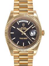 Mens Rolex DAY-DATE 40MM President 228238 Yellow Gold Black Diagonal Motif Dial