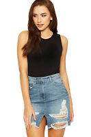 Womens Ripped Distressed Denim Stonewashed Mini Skirt Ladies New Pocket Button