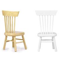 2X(1/12 Dollhouse Miniature Dining Furniture Wooden Chair M7X8)